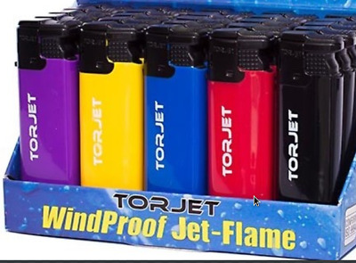 5 x TorJet Electric Windproof Refillable Turbo Jet-Flame Lighters 5 Colours