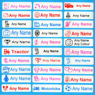 50 Kid Character Personalised Name Labels To Iron On Clothes In Various Colours