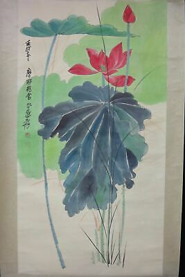 "Very Large Old Chinese Hand Painting Beautiful Louts Flower ""ZhangDaQian"" Marks"