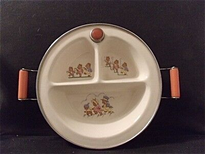 1930's Excello Three Bears Baby Dish w/ Bakelite Handles and Stopper