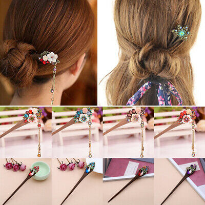 Traditional Beads Clasps Hairpin Hair Stick Crystal Flower Women Wooden