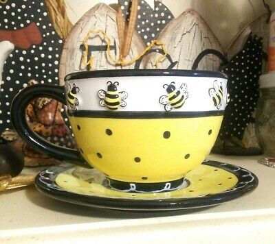 Whimsical Honey Bumble Bee Teacup and Saucer Set Adorable 3D Bees Yellow Black
