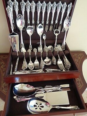 Wallace Grande Baroque Sterling Silver Flatware Set 82 Pcs For12&10Server+Chest