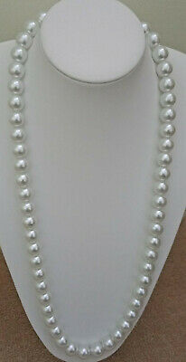 "TO CLEAR 30"" 14mm White Glass Pearls Beads + Silvertone Lobster Clasp."