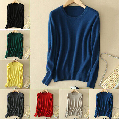 Womens Ladies Knitted Cashmere Sweater Round Neck Long Sleeve Jumper Solid Tops