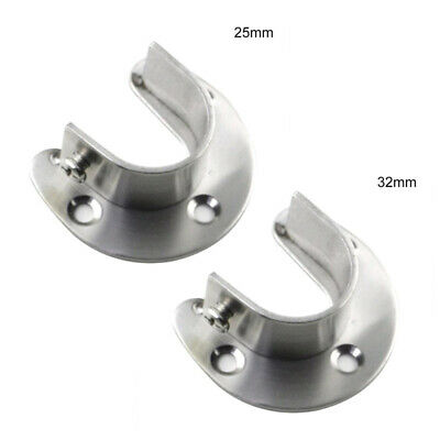Silver Bracket Wardrobe Pipe Rod End Support 2pcs Clothes High quality