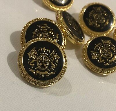 8 Gold & Black Metal Look Crest Buttons 20mm Shank M037 AUSSIE SELLER