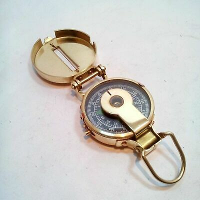 Solid Brass Nautical British Military Compass ~ Lensatic Pocket Compass
