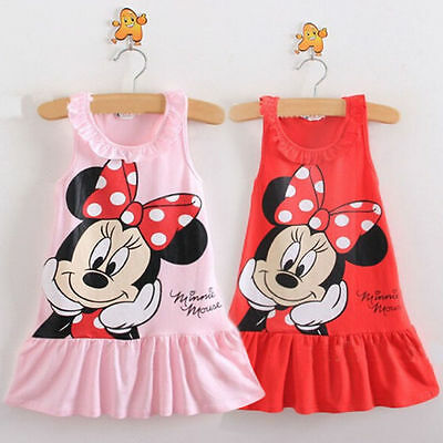 Baby Girls Kids Cartoon Lovely Minnie Mouse Dress Sundress Clothes Party Dresses