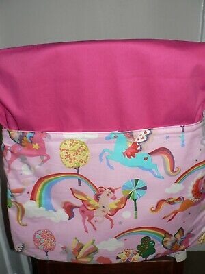 Handmade Kids Chair Bags First Name Embroidered Free (Unicorns Print)