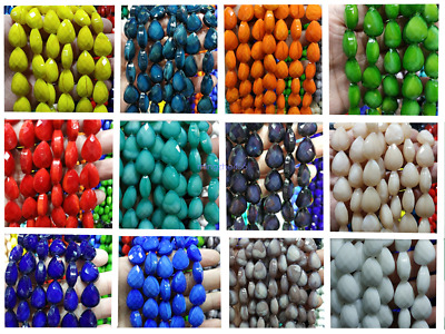 New 25Pcs Colorized Ceramics Crystal Glass Teardrop Spacer Beads Makings 10X14mm