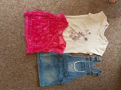 Dungaree dress and hot pink velour top girls clothes age 6-8