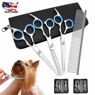 Pet Grooming Scissors Tools Set Dog Straight Curved Thinning Shears Comb Kits US