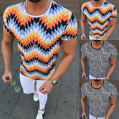 Men's T Shirts Slim Short Sleeve Crew Neck Striped Cotton Pullover Casual Summer