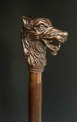Copper Antique Men Face Head Handle Victorian Wooden Walking Stick Vintage Cane
