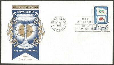 1969 Canada Games 6C Stamp Fdc First Day Of Issue Canada Cover