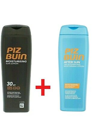 PIZ BUIN Moisturising Sun Lotion 30SPF + After Sun Tanimel FREE UK Postage 200ml