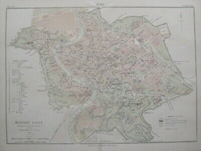 Original 1886 Street Map ROME Italy Municipal Expansion Railroad Tiber Bridges