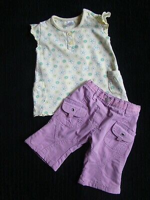 Baby clothes GIRL 0-3m yellow, green, mauve outfit top/lined trousers SEE SHOP!
