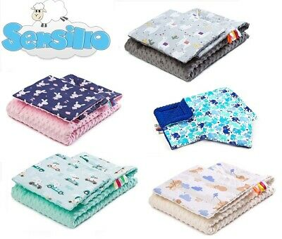 Soft Baby Light MINKY SET BLANKET + PILLOW for pram crib cot Sensillo
