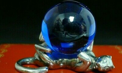 Cartier Sterling Silver Panther with Blue Crystal Ball Paperweight & Box