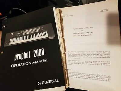 Original SEQUENTIAL CIRCUITS Operation Manual PROPHET 2000 Synthesizer 877 878
