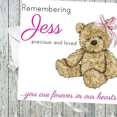 Personalised Baby girl Remembrance Card Sympathy Loss Of Baby, Child teddy