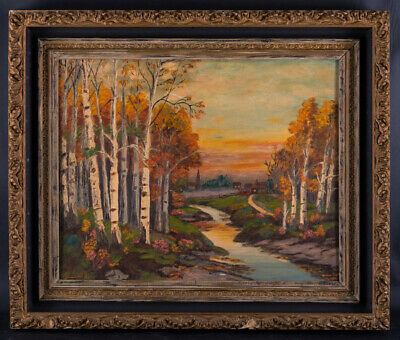 "Early 20th Century American Impressionist Oil Painting ""Forest In Autumn"" Signed"