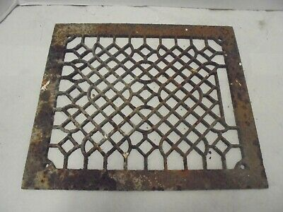 "rusty cast iron furnace air grate fits 10"" X 12"" opening yard fence garden decor"