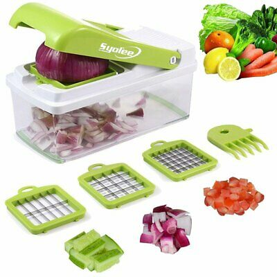 Vegetable Cutter Slicer Kitchen Fruit Veggie Dicer Food Container With 3 Blades