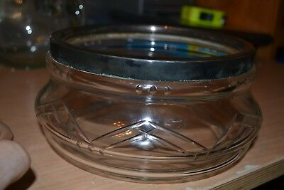 "Vintage Glass Fruitbowl with Metal Rim - 8"" diameter - #CE"