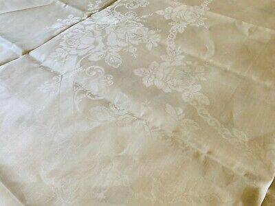 """Antique Irish Double Damask Linen Banquet Cloth NOS 70"""" by 108"""" ROSES"""
