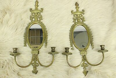 Antique Pair Of 2 Brass Double Arm Candlestick Wall Sconces With Oval Mirrors