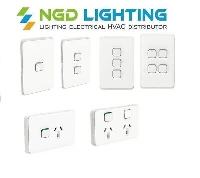 Clipsal Iconic Light Switch 1,2,3,4,5,6 Gang Dimmer Power Point Vivid White
