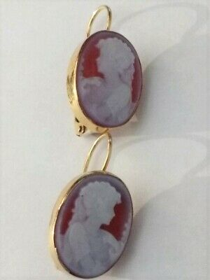 Vintage 18K Yellow Gold Oval Carved Shell Cameo Leverback Earrings