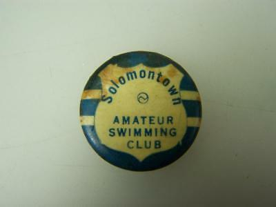 C1920s pin back badge Solomontown Amareur Swimming Club          Port Pirie 1508
