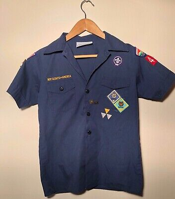 Boy Scouts Of America Navy Blue Button Up Youth M short Sleeve Poly Cotton