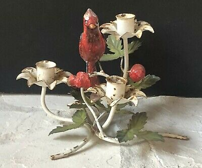 Vintage RED CARDINAL Metal Candle Holder Antique FIGURINE Ladybug Chippy White