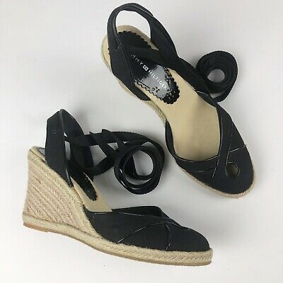 b0e551bb823 NEW TOMMY HILFIGER Kali Wedge Sandals Espadrille Shoes Black Macys ...