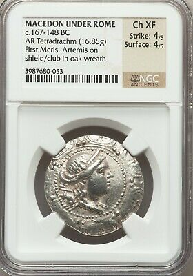 MACEDON. Roman Protectorate. Ca AR tetradrachm NGC Choice XF 4/5 - 4/5.