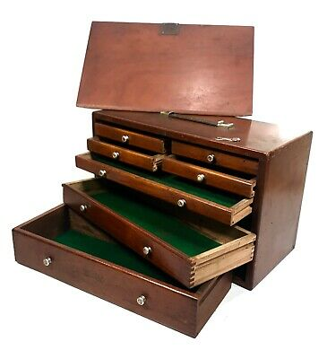 Antique Wooden Union Engineers Tool Case / ToolBox / Cabinet Collectors Chest