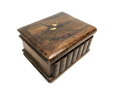 Antique Wooden Stamp Box Made From Olive Wood  / Collectable / Sorrento Ware