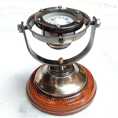Antique Nautical Brass Gimble Floating Compass Vintage Home Deocr