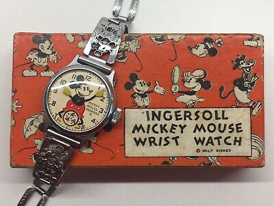 Vintage 1930s Ingersoll Mickey Mouse Watch Disney Original 1934 Ex Boxed