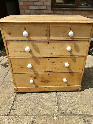 Stunning Antique Victorian Solid 2 over 3 graduated Pine Chest of Drawers