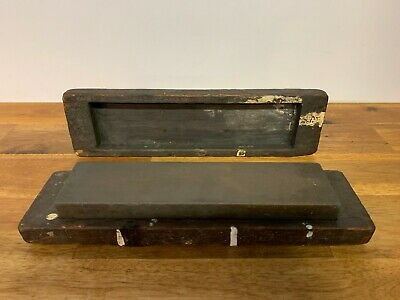 Vintage Knife Sharpening Stone with Wooden Case