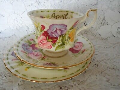 "Royal Albert Flower Of The Month Series April ""Sweet Pea"" Cup Saucer Side Plate"