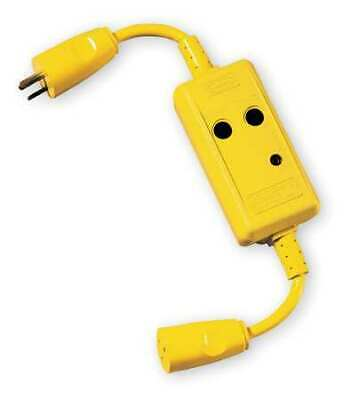 HUBBELL WIRING DEVICE-KELLEMS GFP4C15A Line Crd GFCI,1.5 ft.,Ylw,15A,5-15P,120V