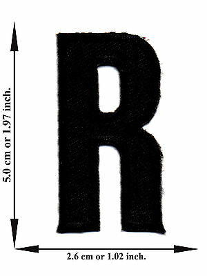 Alphabet R Black Color English Letter Applique Iron on Patch Sew For T-shirt