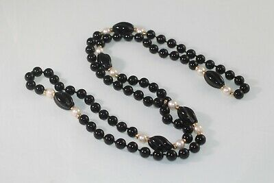 Vintage Antique Carved Onyx Cultured Pearl 14k Yellow Gold beads Bead Necklace